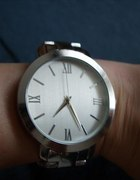 zegarek okrągły srebrny bransoletka asos