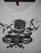 jaskółki róża czaszki rockabilly psychobilly