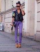 Skórzana kurteczka fioletowe rurki...