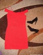czerwona bandage zip dress