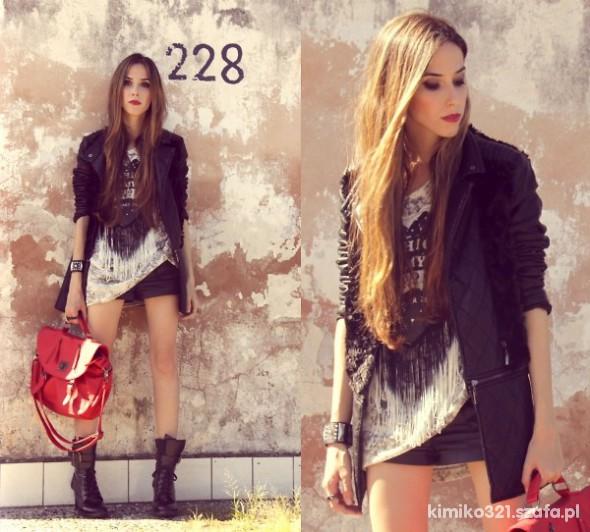glamrock skóra i czerwona torba