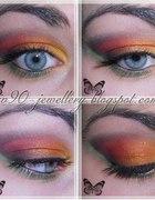 kolorowy makijaż pomarańczowo czerwony