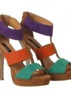 Kolorowe sandały na obcasie Atmosphere