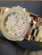 Złoty zegarek z cyrkoniami