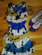 sukienka numph kobalt musztarda