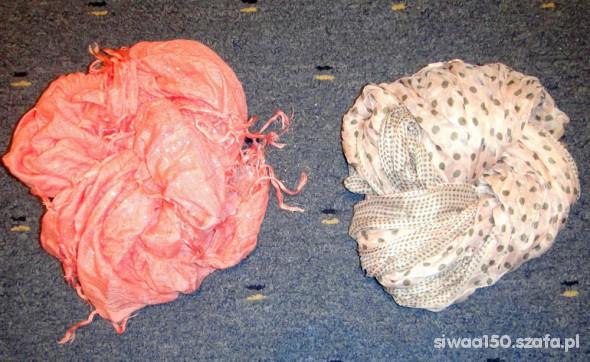 Chusty i apaszki 2 śliczne apaszki koralowa i różowa