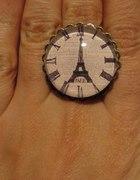PIERŚCIONEK PARIS ZEGAR stare złoto