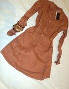 NOWA przedłużana koszula w kolorze rdzawym