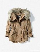 Parka Zara XS S plaszczyk 34 36 karmel khaki