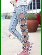nowe rureczki jeansowe z kokardkami 36 38