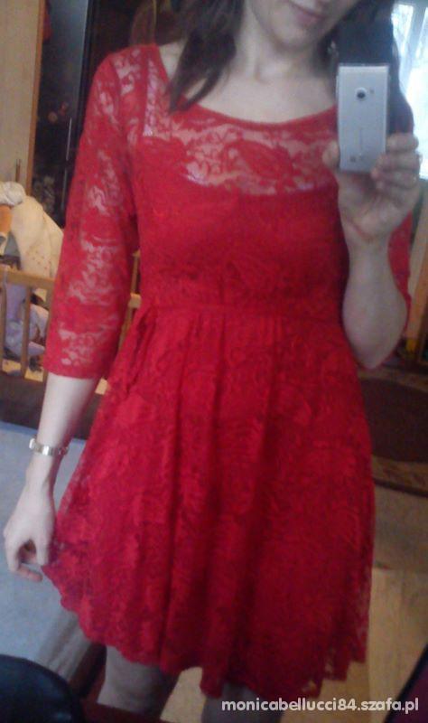 dorothy perkins czerwona koronkowa sukienka...