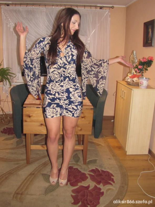Romantyczne sukienka tunika motyl kwiaty