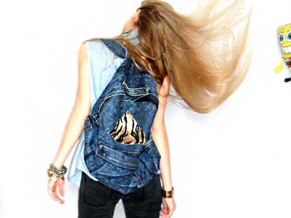 Do szkoły jeansowy plecak panterka romwe