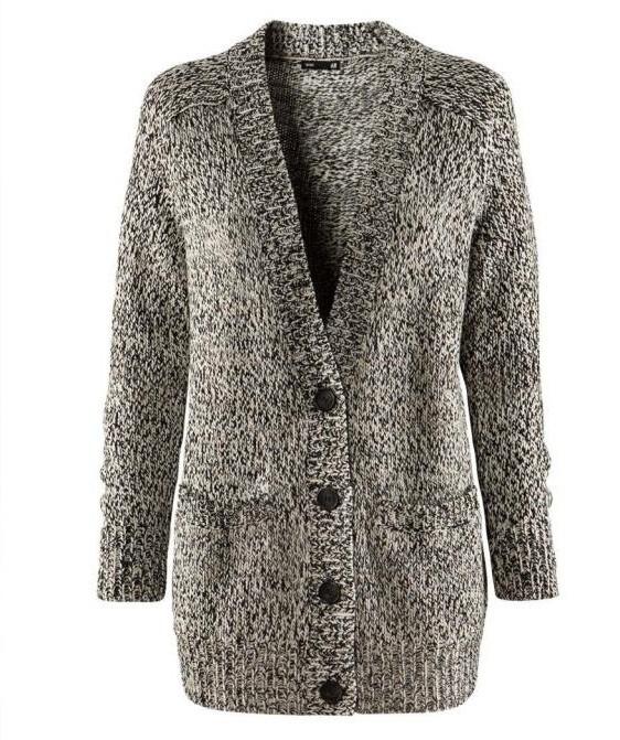 Gruby wełniany sweter kardigan h&m pieprz sól...