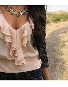 bluzka pudrowy róż z falbankami wdzianko zćwiekami