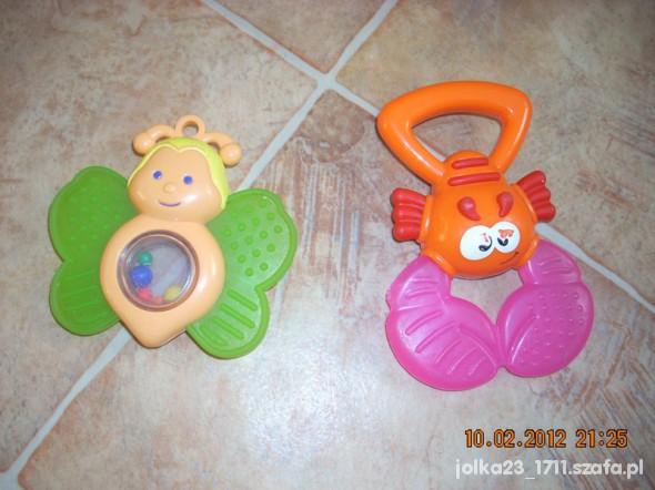 Zabawki zestaw grzechotka i gryzaczek raczek