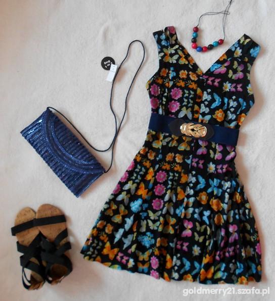 Sukienka w kwiatki wiosna lato z UK rozm 40 Eur L