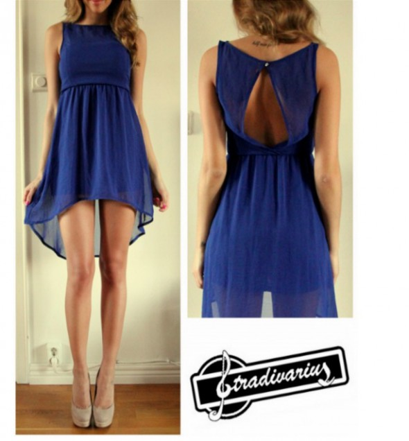 Romantyczne Asymetryczna kobaltowa sukienka
