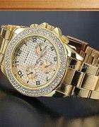 Złoty Srebrny zegarek z cyrkoniami stal nierdzewna