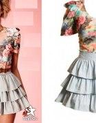 sukienka falbanki floral power shoulders boho...