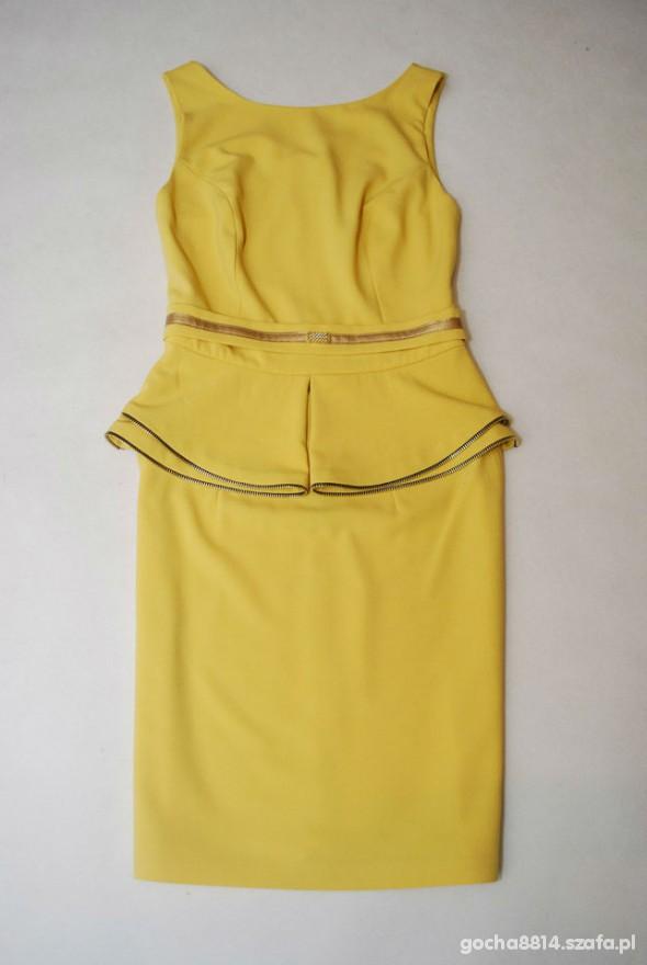 sukienka z baskinka cytrynowa zamki zip NOWA r 36