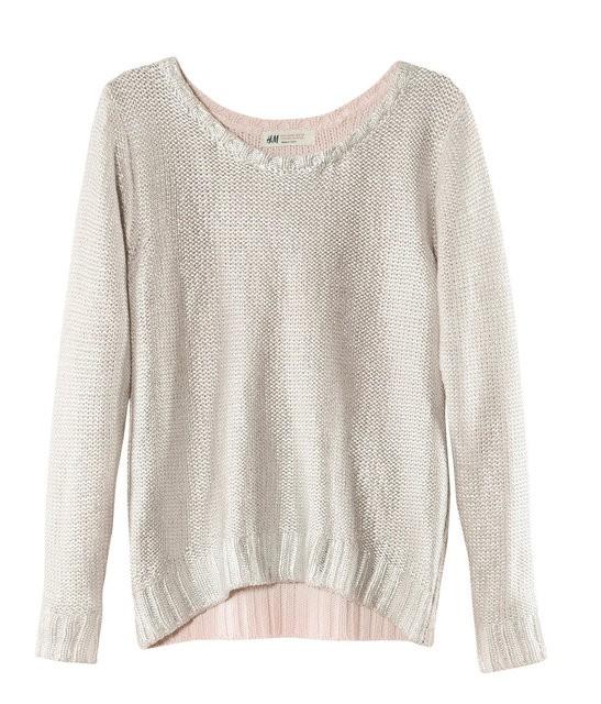 Srebrny metaliczny sweter h&m...