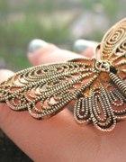 pierścień motyk złoty boho