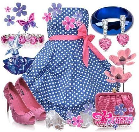 Romantyczne NIebieska sukienka w kropki