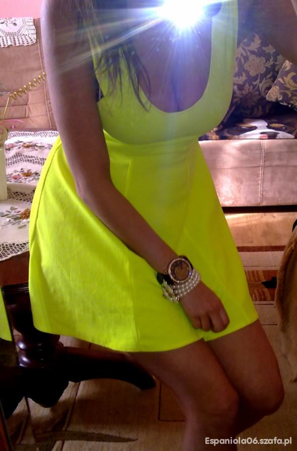 Suknie i sukienki Neonowa żółta super sukienka