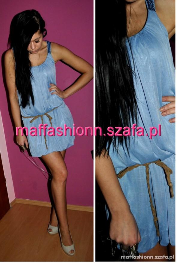 Suknie i sukienki NOWA błękitna Zdobienia CUDO