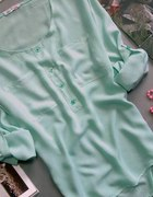 Koszula tunika mgiełka miętowa