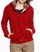 czerwony sweterek z kapturem r40