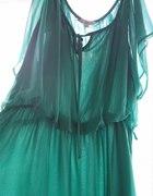 zwiewna sukienka mgiełka miętowa