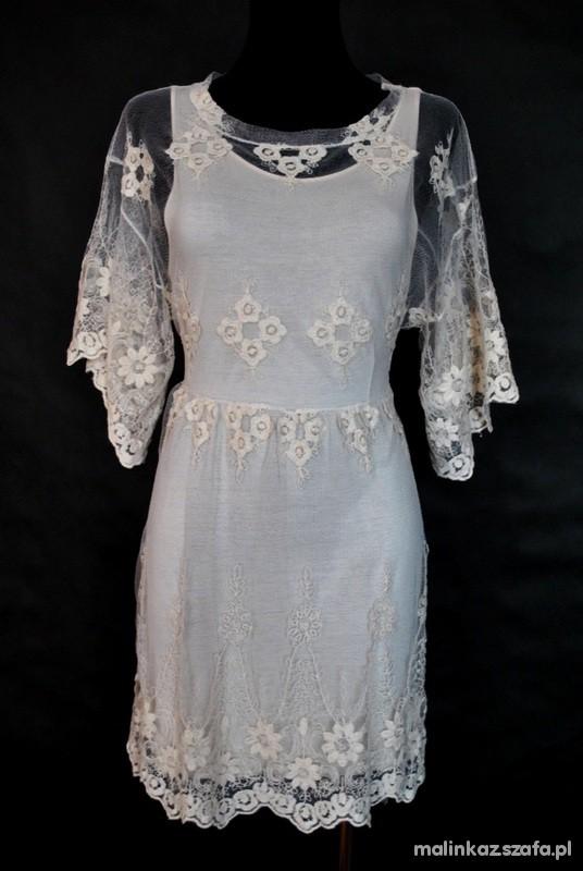 koronkowa sukienka tunika zara