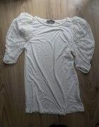 Bluzka biała pufki koronkowe
