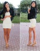 koronkowa sukienka & czarna ekoskórka