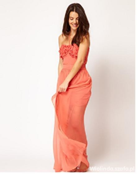 Na specjalne okazje coralowa długa sukienka