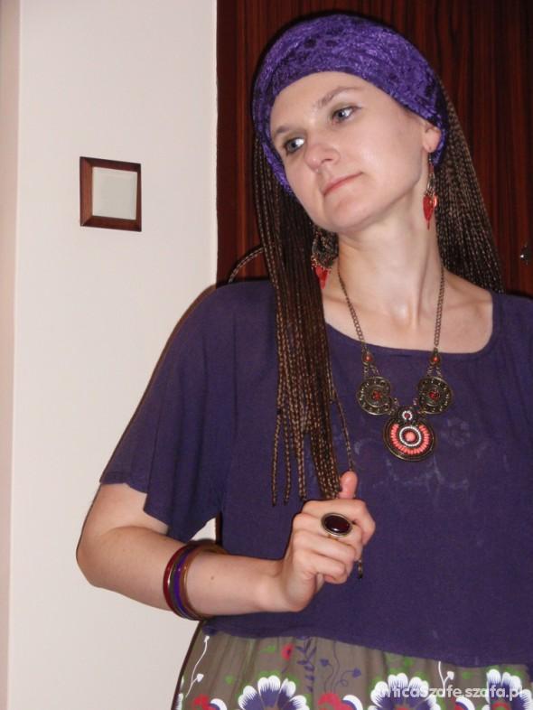 Mój styl Fioletowe haftowane