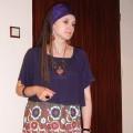 Fioletowe haftowane