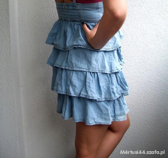 Suknie i sukienki jeansowa falbanki