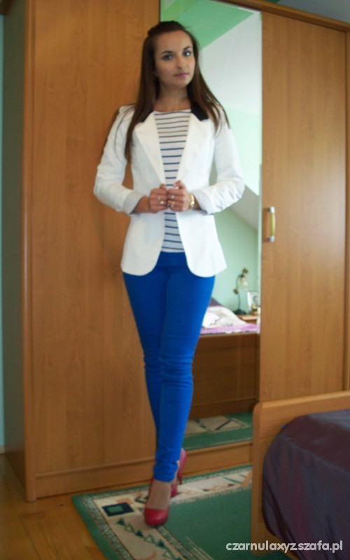 Mój styl Outfit Blue red white