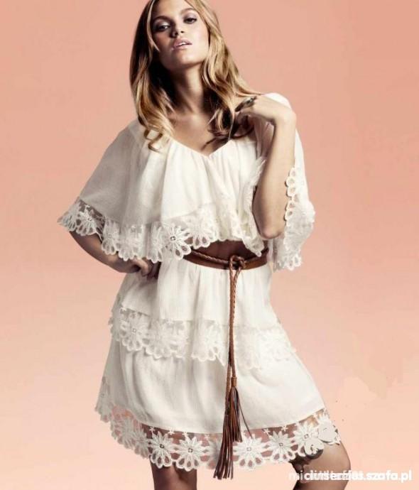 Sukienka nude H&M koronki falbanki i hafty