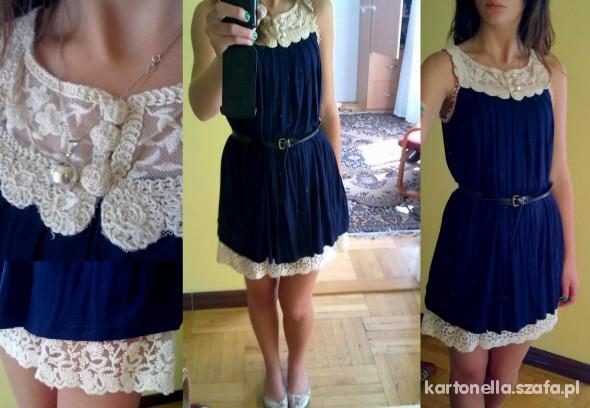 Mój styl granatowa sukienka z koronką