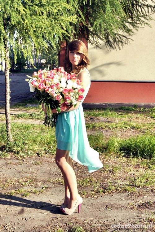Eleganckie Miętowa asymetryczna sukienka