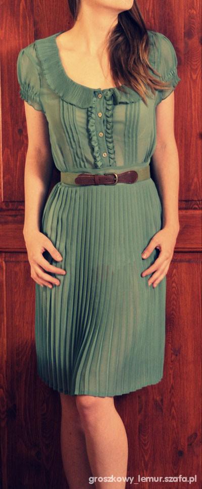 Suknie i sukienki retro plisowana z kołnierzykiem