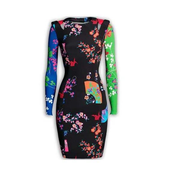 Suknie i sukienki VERSACE for H and M jedwabna sukienka 40 M bodycon