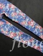 Kwiaty floral super spodnie rurki