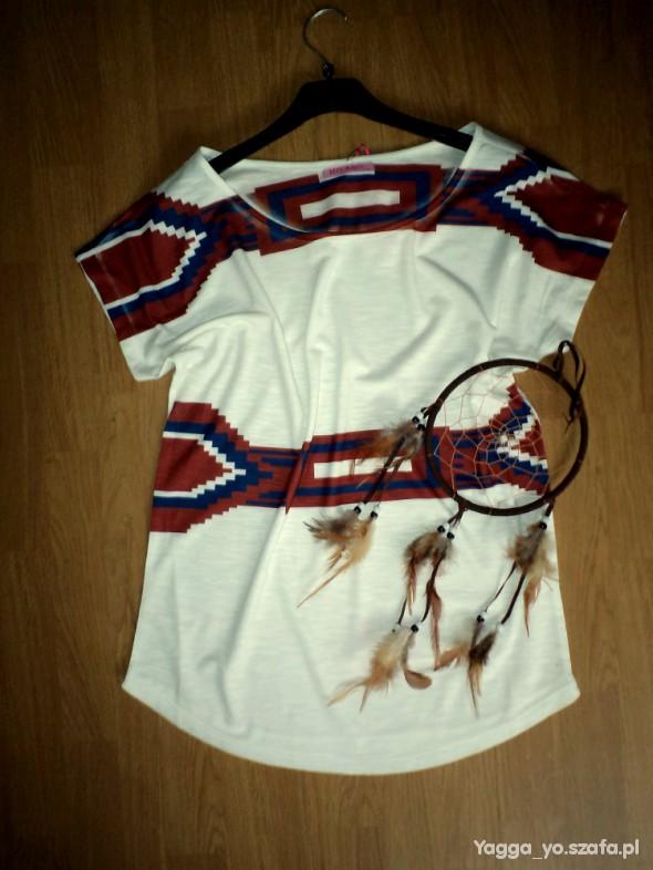 Bluzki Aztec oversize indie boho hippie biały wzory