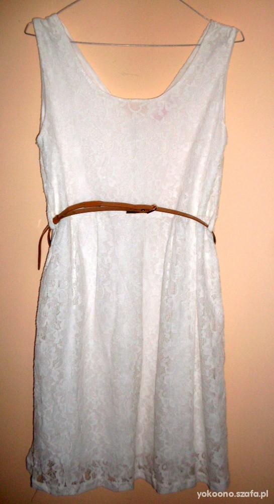 Suknie i sukienki biała koronkowa sukienka