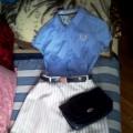Rozkloszowana biała spódnica plus błękitna koszula